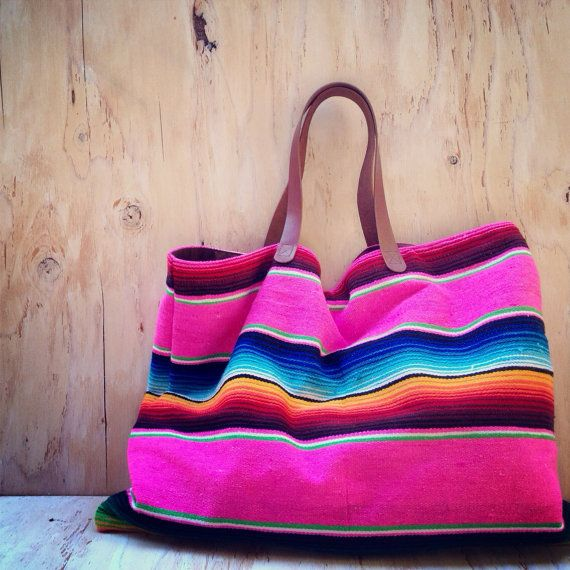 Serape Blanket Tote/ Mexican Blanket/ Navajo by TealSuede on Etsy