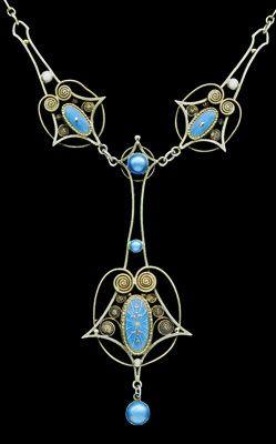 Skonvirke Necklace    Gilded silver Enamel  Norwegian, c.1900