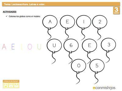Ejercicio para diferenciar letras de números