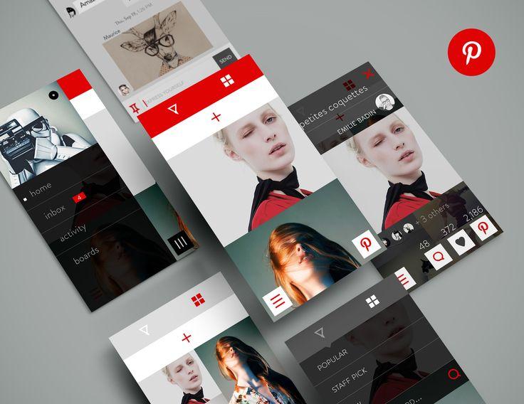 Pinterest-redesign mobile iOS design found on Dribbble.