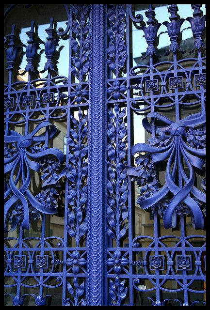 Gate.  A house door in Vienna.Blue Doors, Wrought Iron Gates, Colors, House Doors, Gardens Gates, Blue Gates, Metals Gates, Iron Doors, Vienna Austria