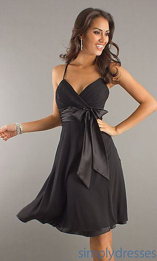 SO many stunning dresses on this site!  Knee Length Shirred Satin Bow Dress at SimplyDresses.com