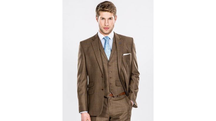 Brown Tweed Check Luxury Tailored Fit Three Piece Suit - Channel that country style with this men's brown tweed suit. A real statement look, this three piece tweed suit is in a vibrant brown shade with subtle check detailing, and is made from top quality materials. This tailored fit brown tweed suit is ideal for country weddings or making a statement at work. Embrace the full look as this three-piece comes with blazer, waistcoat and trousers.