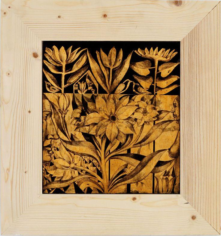 Foita metalica aurie gravata/Engraved golden metallic foil