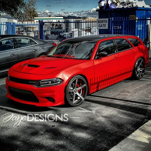 Speed Society Spotted this dodge Magnum with a Hellcat conversion swap front end at sema 2015. matte red
