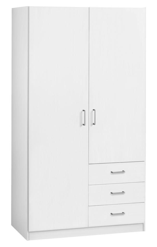 Szafa HAGENDRUP 2-drzw. 3 szufl. biała | JYSK