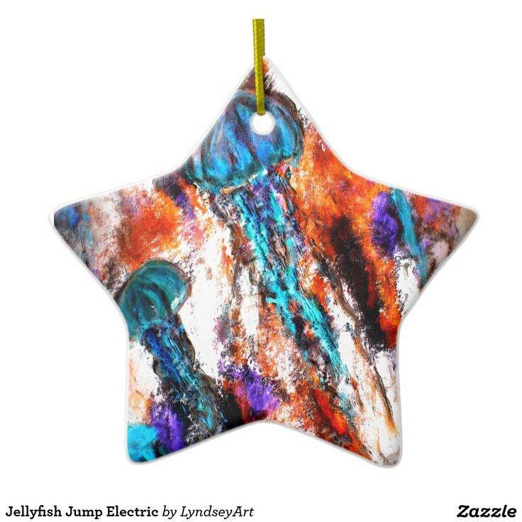 Jellyfish Jump Electric Ceramic Star Decoration Perfect for the ocean loving person at Christmas. #jellyfish #star #Christmas #decoration #lyndseyart