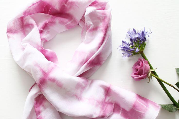 Hand dyed organic cotton scarf - Twill & Print