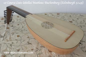 10 course 'lefty' renaissance lute based on a lute labelled 'Matheus Buchenburg', Made for American Customer so the fingerboard is Bog Oak and the soundboard edging is dyed boxwood, i.e Lacey Act friendly.