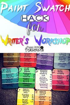 Elementary teacher needs these easy to make vocabulary paint chips for writer's workshop. This is a perfect addition for any writer's workshop folder.   writers workshop ideas 