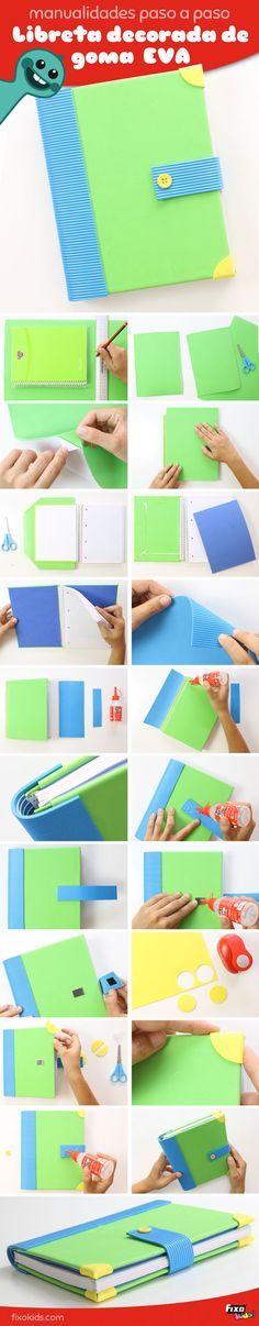 tutorial para decorar libretas en espiral con goma eva adhesiva #manualidades #gomaeva #foam