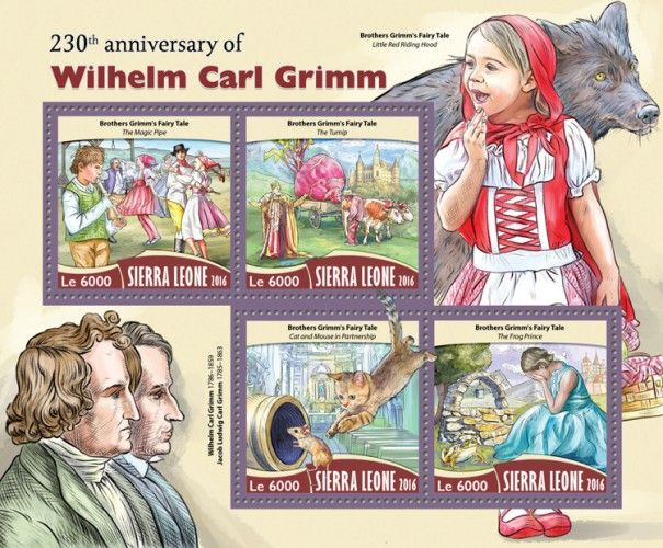"""SRL16720a 230th anniversary of Wilhelm Carl Grimm (Brothers Grimm's Fairy Tale """"The Magic Pipe""""; """"The Turnip""""; """"Cat and Mouse in Partnership""""; """"The Frog Prince"""")"""