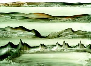 Four Horizons : Flat with rubbed water foreground - an overview of simple iron and wax techniques - an encaustic art project to help you lea...