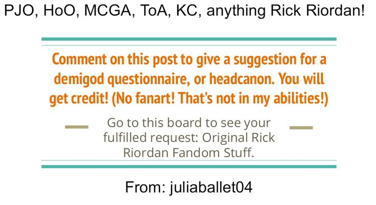 By juliaballet04. Repin to spread this around! But seriously guys, you are welcome to do this... Comment! You will get credit! Percy Jackson, Magnus Chase, Heroes of Olympus, Trials of Apollo, Kane Chronicles.