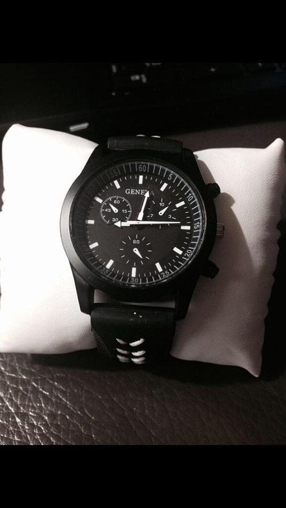 ♣⌂ Men's #baseball themed #watch - black Geneva brand with black case and white http://etsy.me/2eWRVed