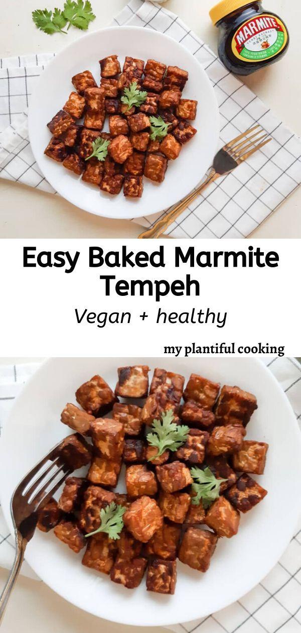 Easy Vegan Marmite Baked Tempeh My Plantiful Cooking Recipe In 2020 Baked Tempeh Marmite Recipes Vegan Recipes Healthy