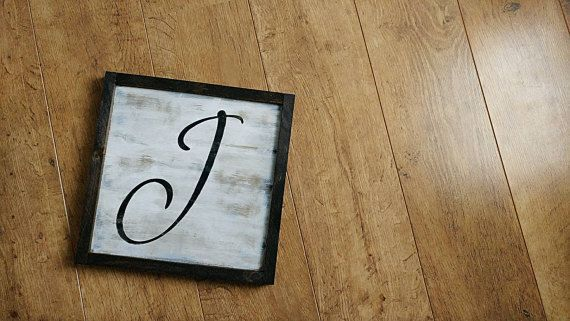 Check out this item in my Etsy shop https://www.etsy.com/ca/listing/480399100/initial-wood-sign-calligraphy-script