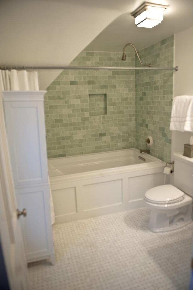 Caribbean bathroom ideas - Ming Green Marble Tile In The Bath What We Chose
