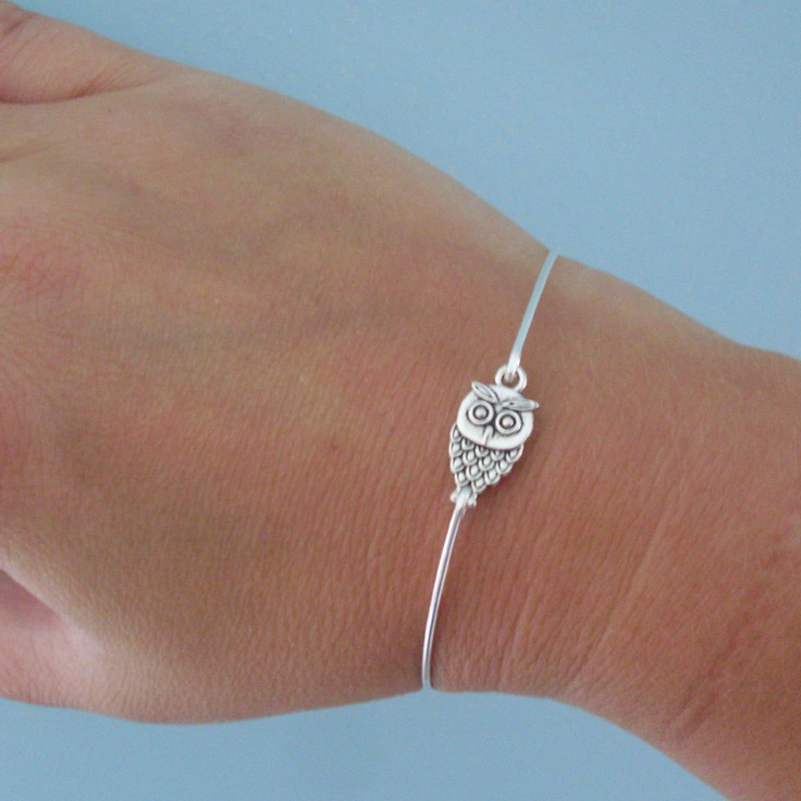 Little Owl Bracelet, Cute Owl Jewelry, Fashion, Owl Bangle Bracelet, Owl Charm Bracelet, Thin, Dainty Bracelet, Tiny, Silver Owl Bracelet. $14.95, via Etsy.
