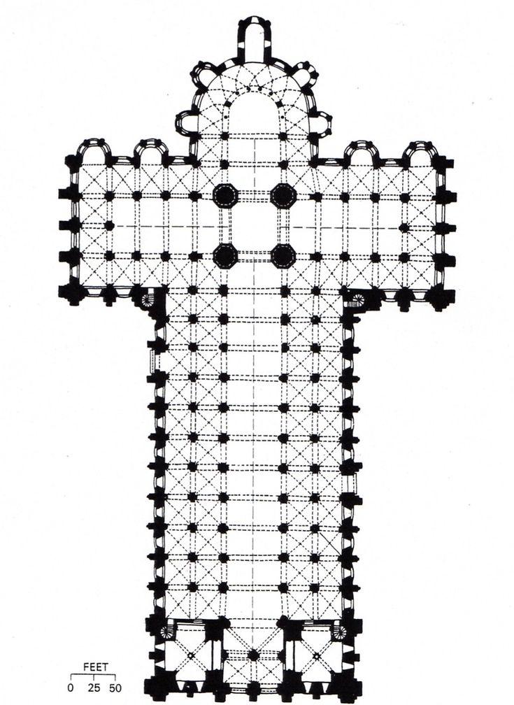 Plan de la basilique Saint-Sernin de Toulouse. XIe-XIIe siècle. Plan typique d'une église de pèlerinage: avec entre autres, une nef à cinq vaisseaux (nef principale et double bas-côtés), un chevet à déambulatoire et chapelles rayonnantes.