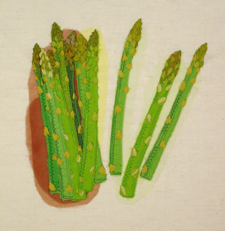 """asparagus""  needlework illustration Ⓒ Nagako Ono HAPPa_Ya #embroidery #vegetables"