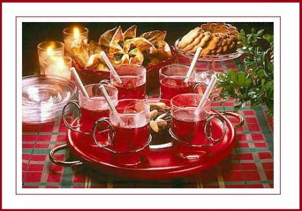 Glogi ,Finnish mulled wine. Serve with cinnamon cookies.