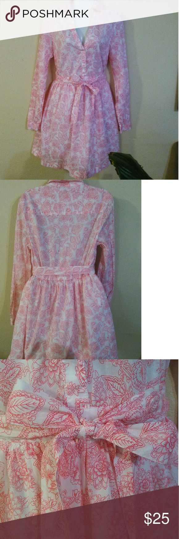 Victoria's Secret white and red/pink dress Cute Victoria's secret dress size 8 005 Victoria's Secret Dresses Long Sleeve