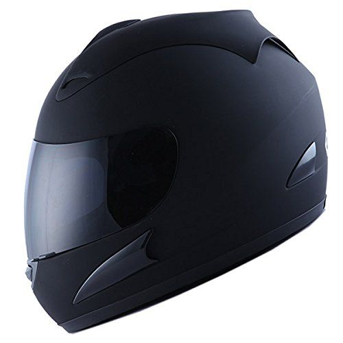 Motorcycle Street Bike Matt Black Full Face Helmet + Two Visors: Smoked & Clear