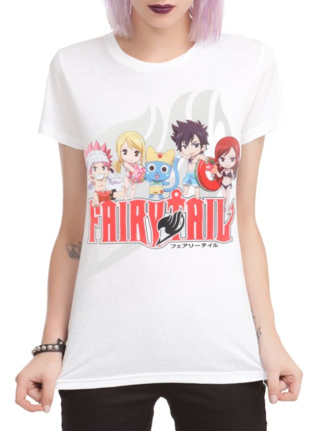 The gang from Fairy Tail is headed to the beach on this fitted tee!