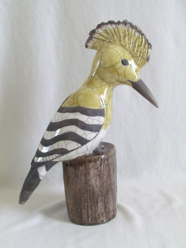 sculpture raku animaux oiseau huppe faciée céramique grès Danièle Meyer
