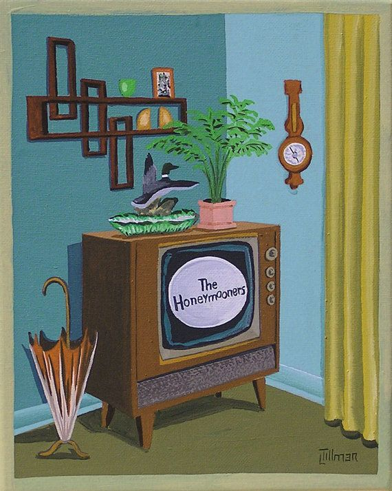 Mid Century Modern Eames Retro Limited Edition Print from Original Painting TV The Honeymooners