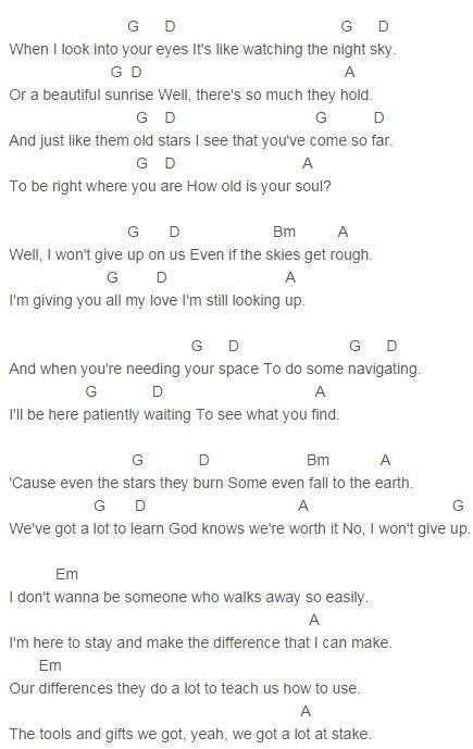 Jason Mraz - I Won't Give Up Chords Capo 2