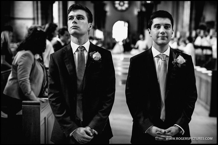 Alex and his best man and brother waiting for Lauren to walk down the aisle at Temple Church in London -