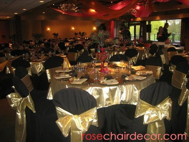 More pictures at www.rosechairdecor.com | Chair Covers for rent in Vancouver | Wedding Chair Covers and more! Black and Gold Party!