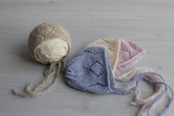 New  Brushed alpaca knit bonnet Newborn by MoonlightLittleKnits