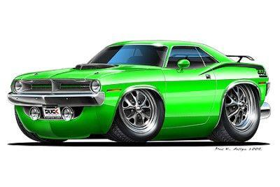 Details about Plymouth Cuda Muscle Car Cartoon Art Print | Cars ...