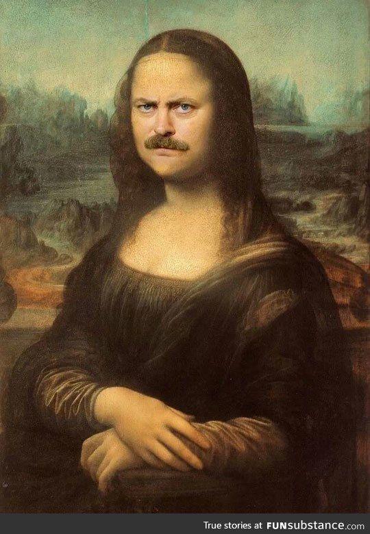 I love photoshopped Mona Lisas--and Ron Swanson!