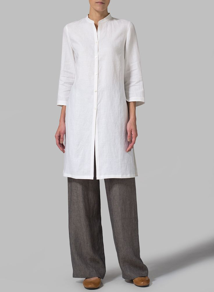 Linen Mandarin Collar Simple Long Blouse - $109