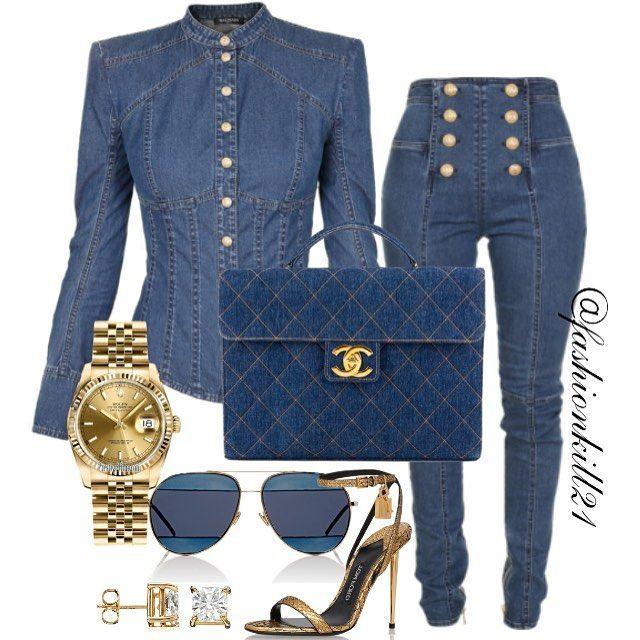 Top/Jeans: Balmain, Bag: Chanel, Frames: Dior, Shoes: Tom Ford, Watch: Rolex #Styledbyfashionkill21