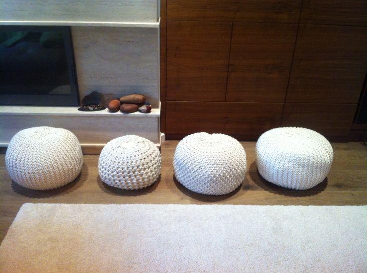 Crochet, knitted pouf