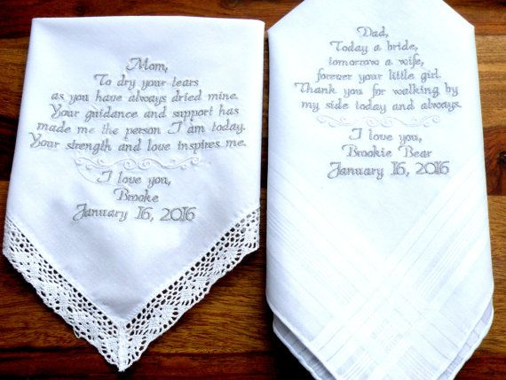 Wedding Favor Embroidered Handkerchiefs Set Of 2 Mom