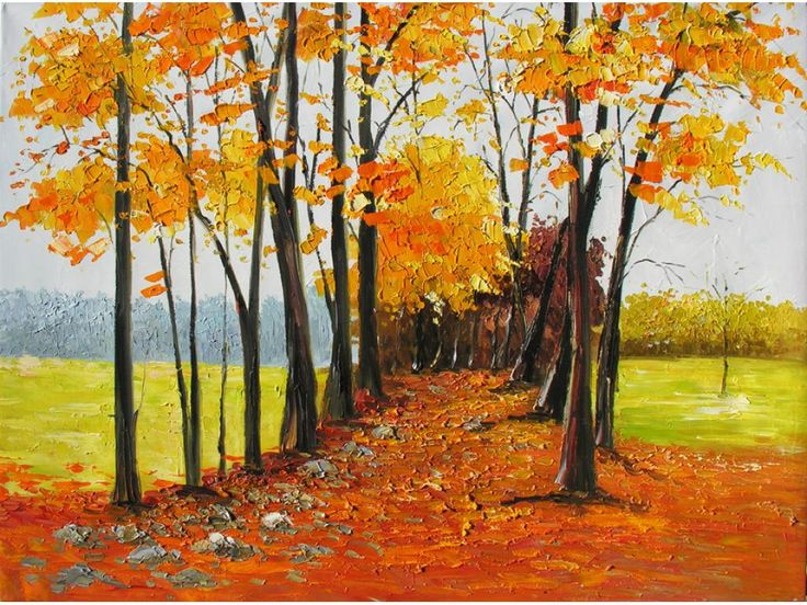 The Old Path 40 x 30 Original Office Home Decor Oil Painting Palette Knife Colorful Landscape Park Path Fields Red Orange Road Autumn Impressionism ART by Marchella Piery