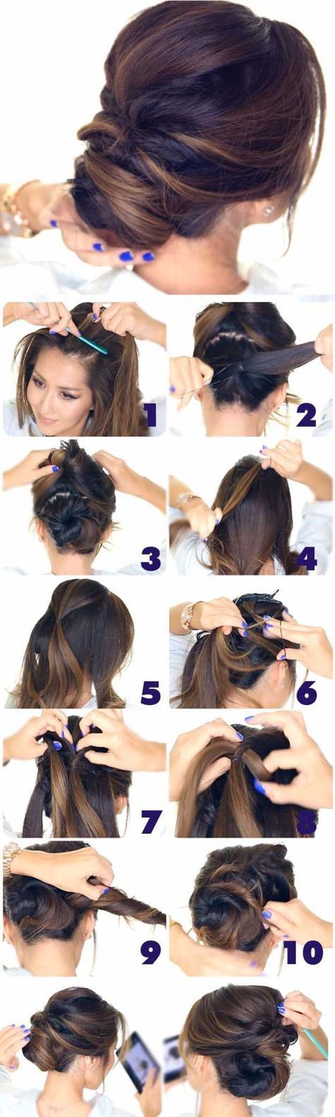 Best Hairstyles for Brides - 5 Minute Elegant Chignon- Amazing Hair Styles and Looks for Half Up Medium Styles, Updo With Long Hair, Short Curls, Vintage Looks with Veil, Headpieces, or With Tiara - Wedding Looks for Girls With Round Faces - Awesome Simple Bridal Style With Headband or Elegant Braided Up Dos - thegoddess.com/hairstyles-for-brides #weddinghairstyleswithveil