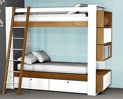 Crosby Bunk Beds by DucDuc are a must for the modern kid's room once cots are out of the way. Additional cubby shelves attach to either end of the beds.