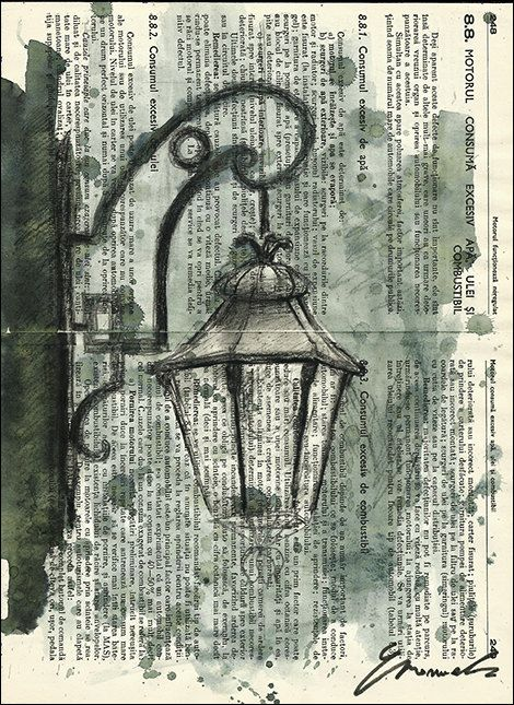 Old Lamp Canvas Print Art Ink Drawing Collage City Art Painting