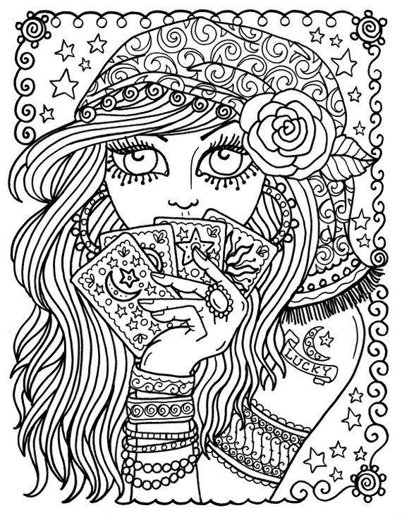 Digital Coloring Book Gypsy Dancer Belly Dancers Gypsies Hippie