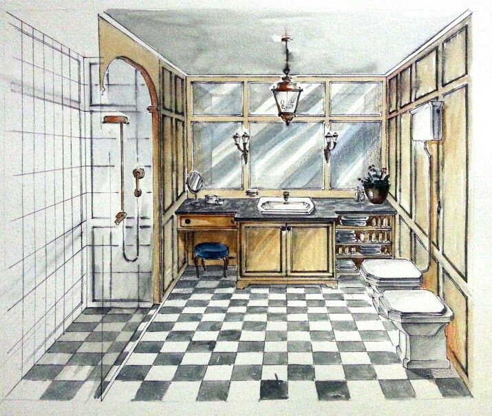 Classy english retro bathroom portfolio interior design for Bathroom designs drawing