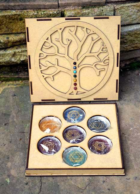 Chakra set in Tree of Life hand made box http://www.thesacredfeminine.com/chakra-box.html