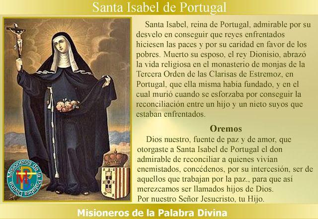 Misioneros de la Palabra Divina: SANTORAL - SANTA ISABEL DE PORTUGAL