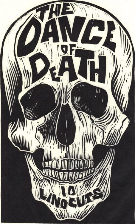 This would make a really cool wood carving print Designersgotoheaven.com   The Dance of Death Linocut by Kreg Yingst.(via 50 Watts)